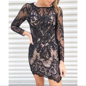 Express | Lace Sequins Long Sleeve Black Dress 0